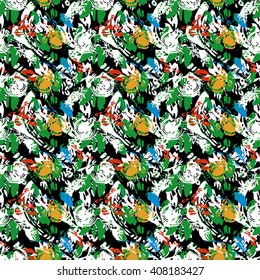 Seamless abstract flower pattern with red, yellow, green and white elements on black background