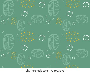 Seamless abstract fruit and vegetables vegetarian food pattern, vector vegan green color background.