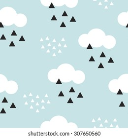 Seamless abstract geometric clouds Scandinavian style illustration graphic background pattern in vector