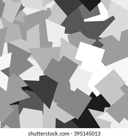 Seamless abstract geometric pattern. Geometric camouflage style. Gray, white, black elements. For textile, paper print, website background and fabric design. EPS10.