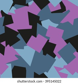 Seamless abstract geometric pattern. Geometric camouflage style. Blue, pink, black elements. For textile, paper print, website background and fabric design. EPS10.