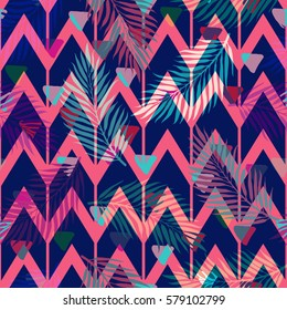 Seamless abstract geometric pattern with the colorful tropical zigzag lines and triangles. Design template for wallpaper, wrapping, fabric etc. Vector Illustration