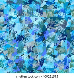 Seamless abstract geometric pattern, ice block, vector.