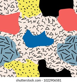 Seamless abstract geometric pattern in memphis style