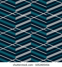 Seamless abstract geometric pattern with multiple complicated zigzag. Elegant fashion vector print in blue and white colors