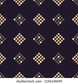 Seamless abstract geometric pattern. Pixels. Mosaic texture. Brushwork. Hand hatching. Can be used for wallpaper, textile, invitation card, wrapping, web page background.