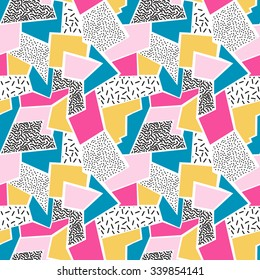 Seamless abstract geometric pattern in retro Memphis style, fashion 80s