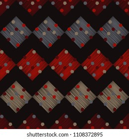 Seamless abstract geometric pattern. Rhombuses with circles. Netting. Brushwork. Hand hatching. Scribble texture. Textile rapport.
