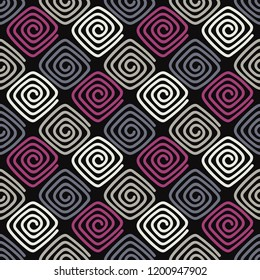 Seamless abstract geometric pattern. Screws. Mosaic texture. Brushwork. Hand hatching. Can be used for wallpaper, textile, invitation card, wrapping, web page background.
