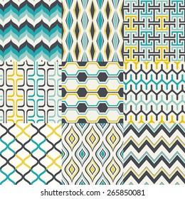 seamless abstract geometric pattern set