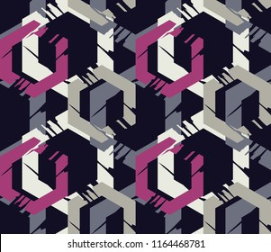 Seamless abstract geometric pattern. The shapes of hexagons. Mosaic texture. Brushwork. Hand hatching. Scribble texture. Textile rapport.