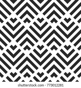 Seamless Abstract Geometric Pattern, Stripes Vector Background, Black And White Illustration
