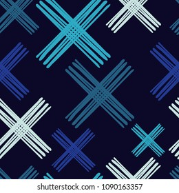 Seamless abstract geometric pattern. Texture with crosses. Manual hatching. Scribble texture. Textile rapport.