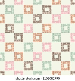 Seamless abstract geometric pattern. The texture of the squares. The texture of the strips and dots. Textile rapport.