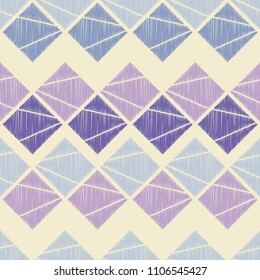 Seamless abstract geometric pattern. The texture of rhombus. Brushwork. Hand hatching. Scribble texture. Textile rapport.