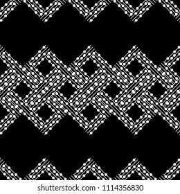 Seamless abstract geometric pattern. Texture of stripes and circles. Brushwork. Hand hatching. Scribble texture. Textile rapport.