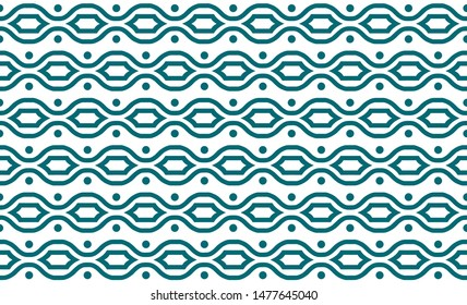 Seamless abstract geometrical wavy pattern with polka dot and white background