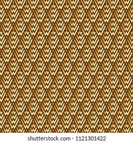 Seamless Abstract Golden Geometric Pattern with Stripes. Optical Rhombic Psychedelic Illusion. Wicker Structural Texture. Vector Illustration