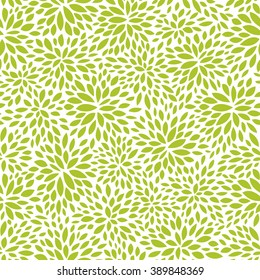 seamless abstract green leaf pattern, foliage vector background