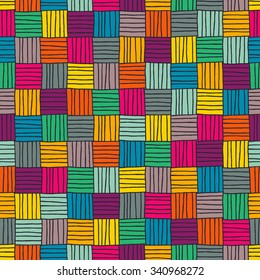 Seamless abstract hand drawn pattern in bright colors