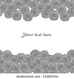 Seamless abstract hand-drawn borders with black spirals. Vector illustration