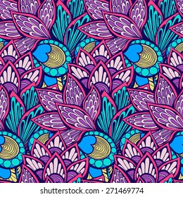 Seamless abstract hand-drawn floral backdrop. Vector illustration. Use for textile, wallpaper, web page background