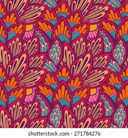 Seamless abstract hand-drawn floral background. Vector pattern. Use for textile, wallpaper, web page background