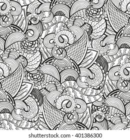 Seamless abstract hand-drawn floral texture with doodles.  Vector illustration