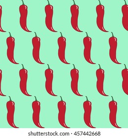 Seamless abstract hand-drawn pattern with red chili peppers