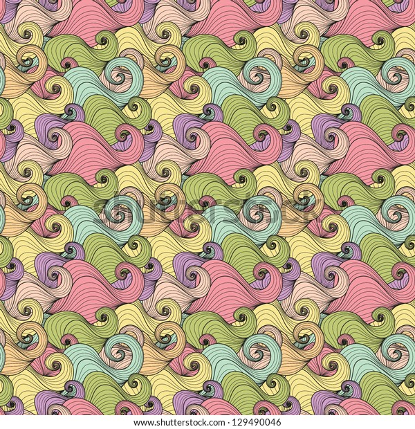 Seamless abstract hand-drawn pattern with waves in vector