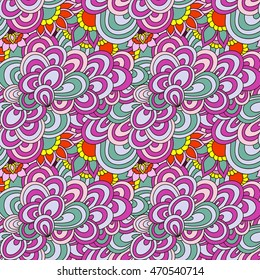 Seamless abstract hand-drawn waves pattern, floral background. Pattern can be used for wallpaper, pattern fills, surface textures. Doodle illustration.