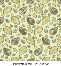 Seamless abstract ikat pattern with image of leaves.