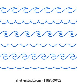 Seamless abstract line pattern. Waves of ocean, sea. Decorative line waves.