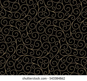 Seamless abstract linear pattern with thin curl lines and scrolls on black background. Elegant line texture for textile, wrapper and other printing