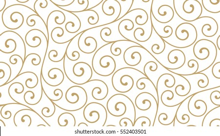 Seamless abstract linear pattern with thin curl lines and scrolls. Elegant line texture for textile, wrapper and other printing