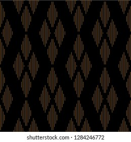 Seamless abstract lines pattern vector. Design four rhombus vertical with stripes gradient gold on black background. Design print for illustrations, textile, texture, wallpaper, background. Set 2