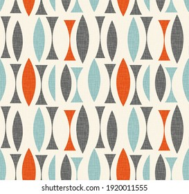 Seamless abstract mid century modern pattern. Retro design of concave and convex shapes. Use for backgrounds, fabric design, home decor. Vector illustration.
