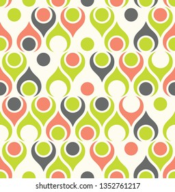 Seamless abstract midcentury modern pattern for backgrounds, fabric design, wrapping paper, scrapbooks and covers. Retro design of teardrop shapes and vintage colors. Vector illustration.
