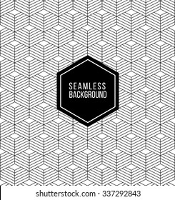 seamless abstract monochrome fashion black and white wallpaper or background with hipster label or badge for flyer poster logo or t-shirt apparel clothing print