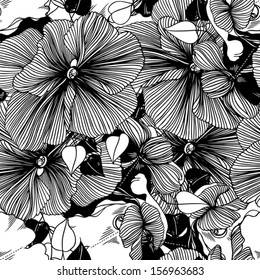 seamless abstract monochrome vector pattern from flowers