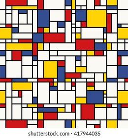 Seamless abstract mosaic pattern. (Mondrian emulation).