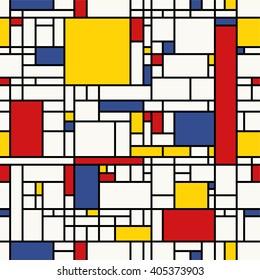 Seamless abstract mosaic pattern. (Piet Mondrian emulation).