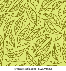 Seamless abstract natural pattern with green leaves. Vector illustration.