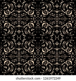 Seamless abstract openwork pattern, black lace on beige background. Guipure embroidered ornament of ornate curly elements. Vintage lacy tracery, elegant thick tulle texture. Gothic lace weave. Vector.