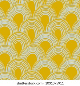 The seamless abstract pattern with arches for your designs. Hand drawn repeat background. Can be used for paper, branding, packaging, fabric, decor, posters, cards, etc.