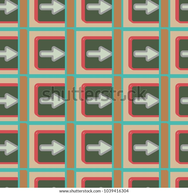 Seamless abstract pattern with arrows on button.