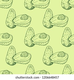 seamless abstract pattern with avocado
