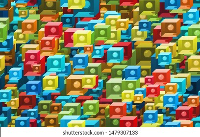 seamless abstract pattern with colored perls inside boxes