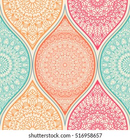 Seamless abstract pattern with colorful patchwork. Endless pattern with hand drawn mandala. Can be used for ceramic tile, wallpaper, linoleum, textile, invitation card, wrapping, web page background