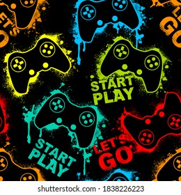 Seamless abstract pattern with colorful silhouettes joystick game. Background for boys.